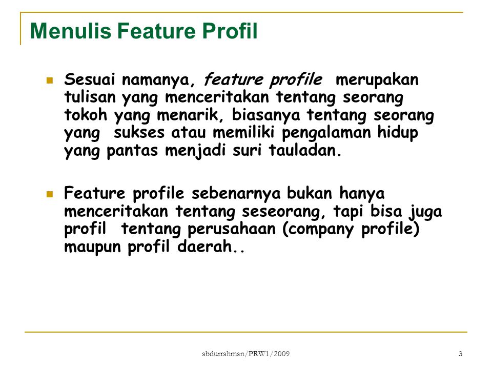 Menulis Feature Profil