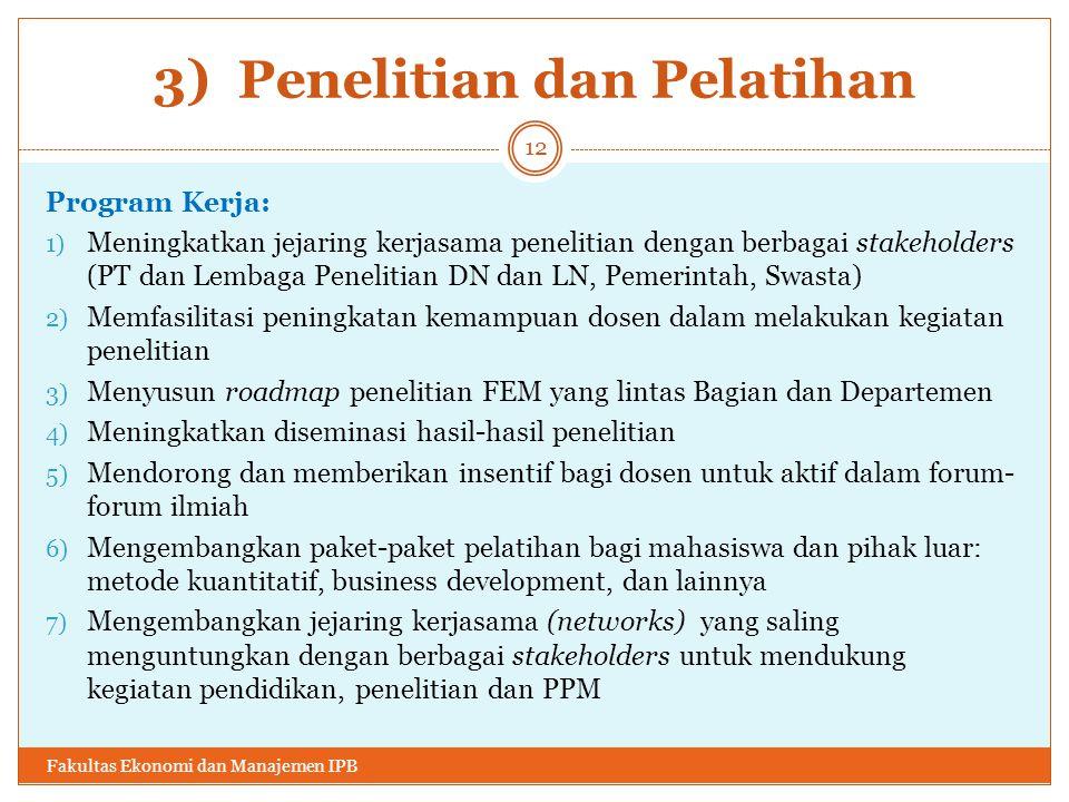 3) Penelitian dan Pelatihan