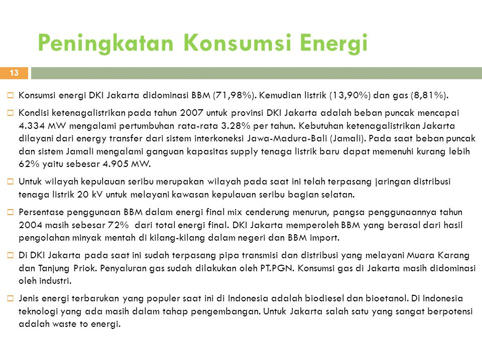 Peningkatan Konsumsi Energi
