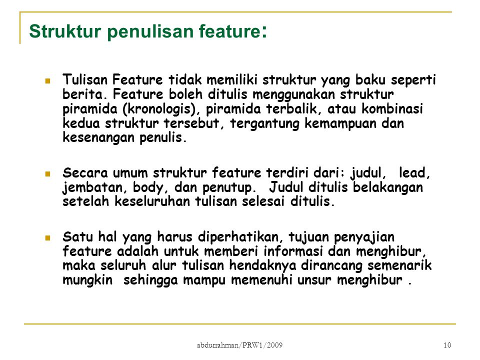 Struktur penulisan feature: