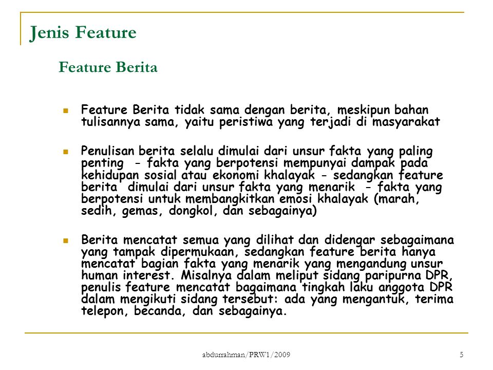Jenis Feature Feature Berita