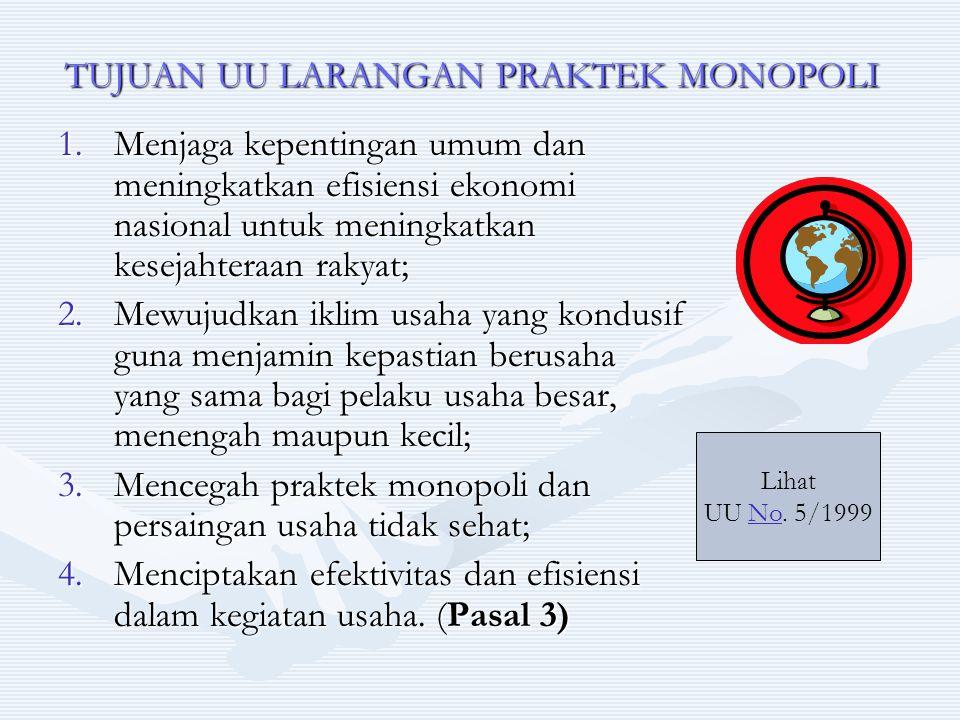TUJUAN UU LARANGAN PRAKTEK MONOPOLI