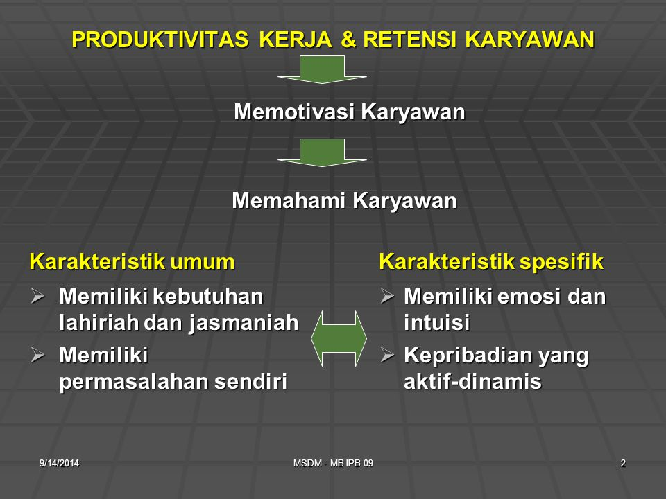 PRODUKTIVITAS KERJA & RETENSI KARYAWAN