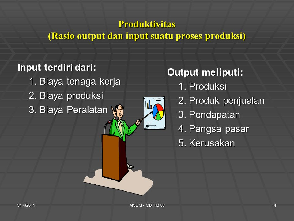 Produktivitas (Rasio output dan input suatu proses produksi)