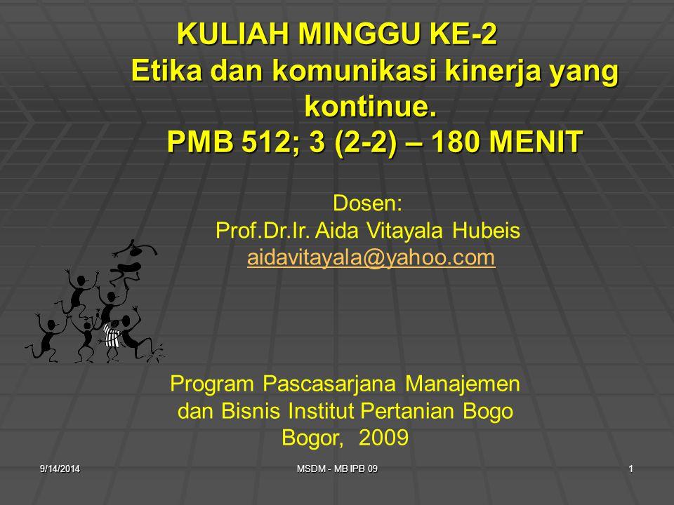 KULIAH MINGGU KE-2 Etika dan komunikasi kinerja yang kontinue