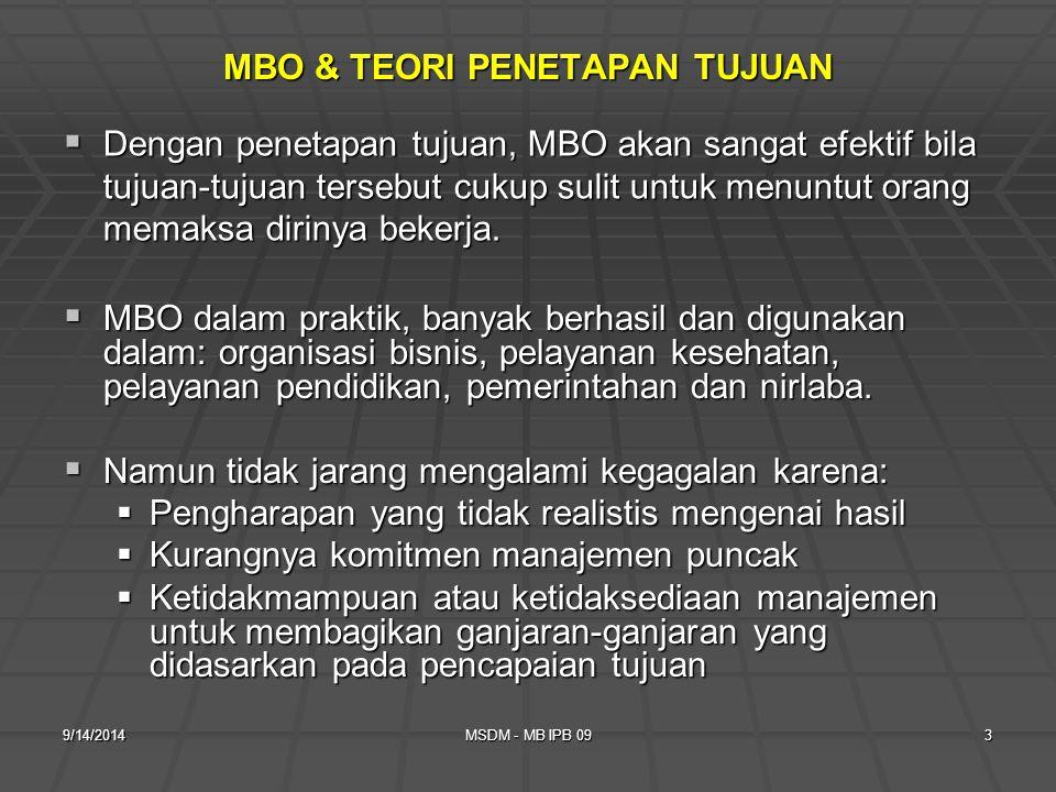 MBO & TEORI PENETAPAN TUJUAN