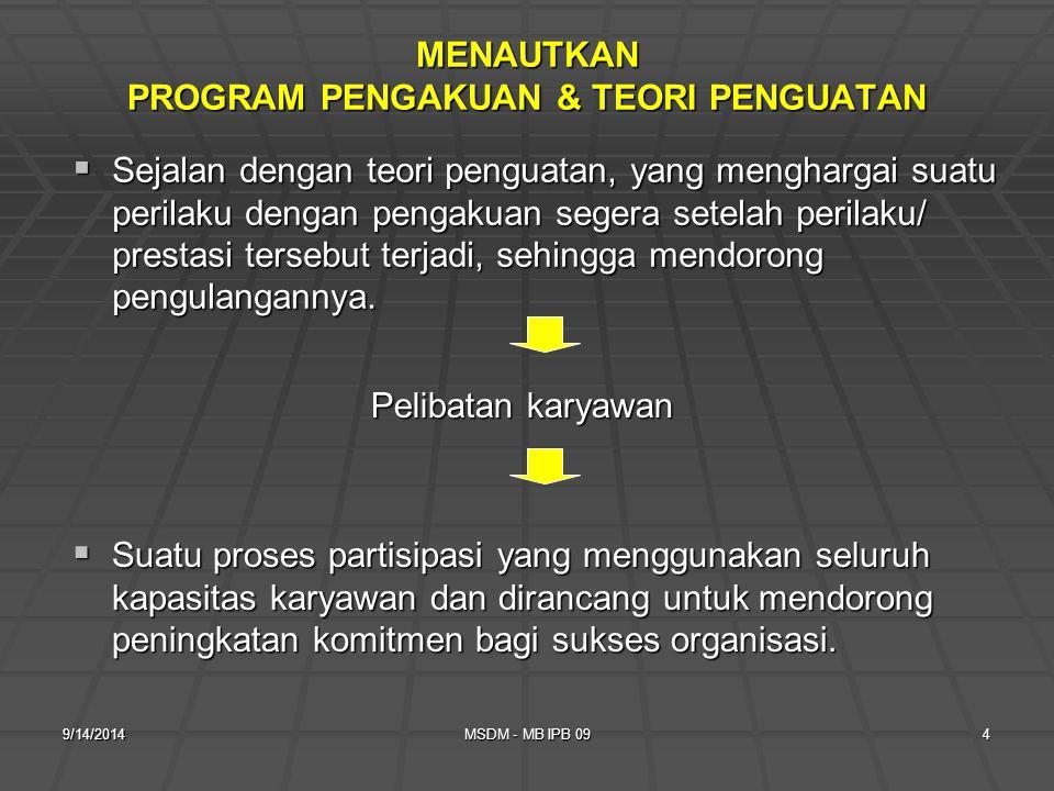 MENAUTKAN PROGRAM PENGAKUAN & TEORI PENGUATAN