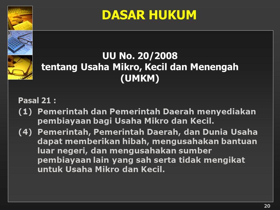 UU No. 20/2008 tentang Usaha Mikro, Kecil dan Menengah (UMKM)