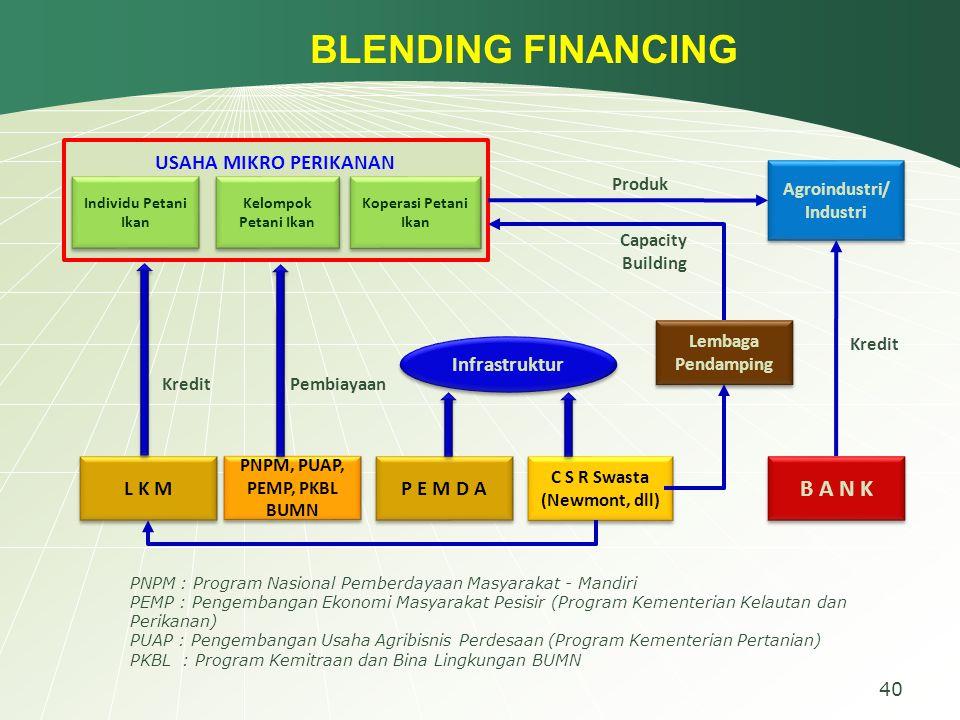 BLENDING FINANCING B A N K USAHA MIKRO PERIKANAN L K M P E M D A