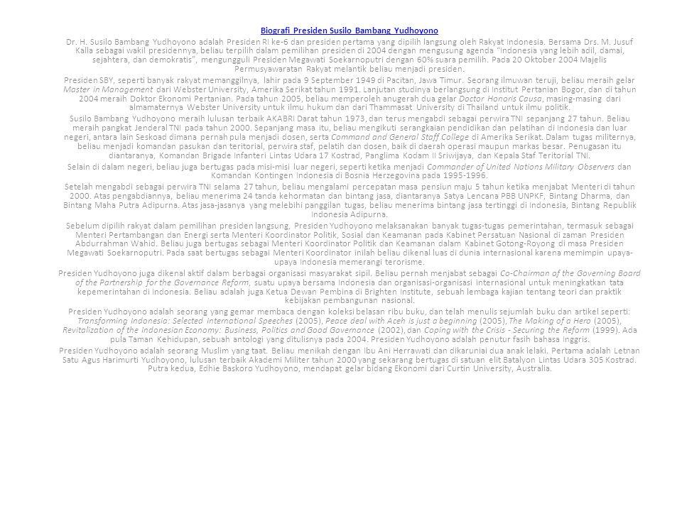 Biografi Presiden Susilo Bambang Yudhoyono