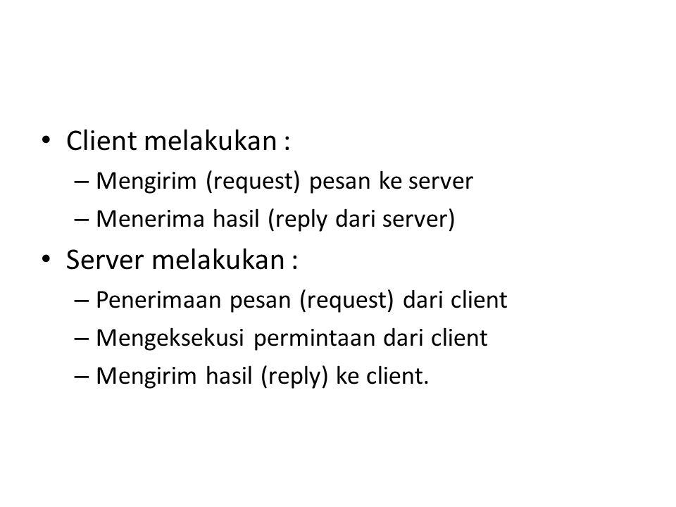 Client melakukan : Server melakukan :