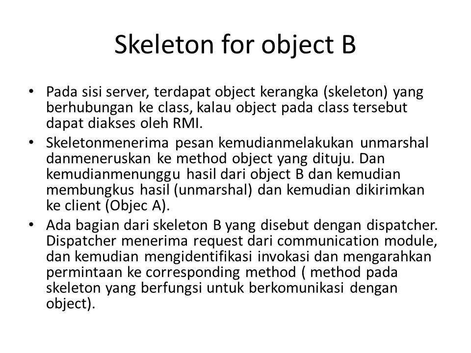 Skeleton for object B