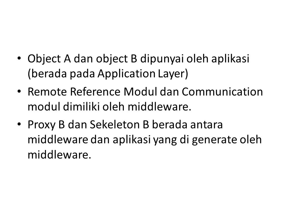 Object A dan object B dipunyai oleh aplikasi (berada pada Application Layer)