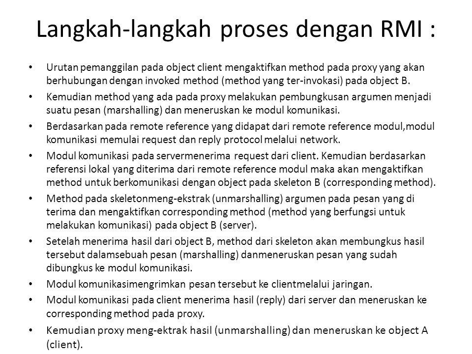 Langkah-langkah proses dengan RMI :