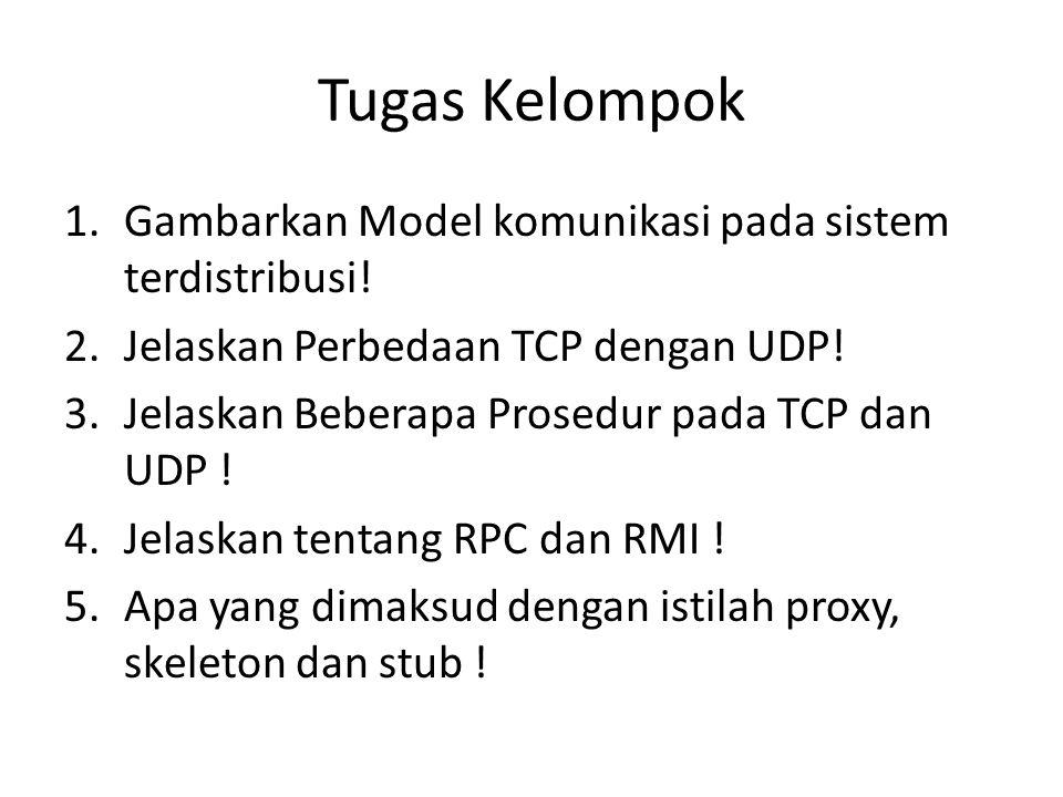 Tugas Kelompok Gambarkan Model komunikasi pada sistem terdistribusi!