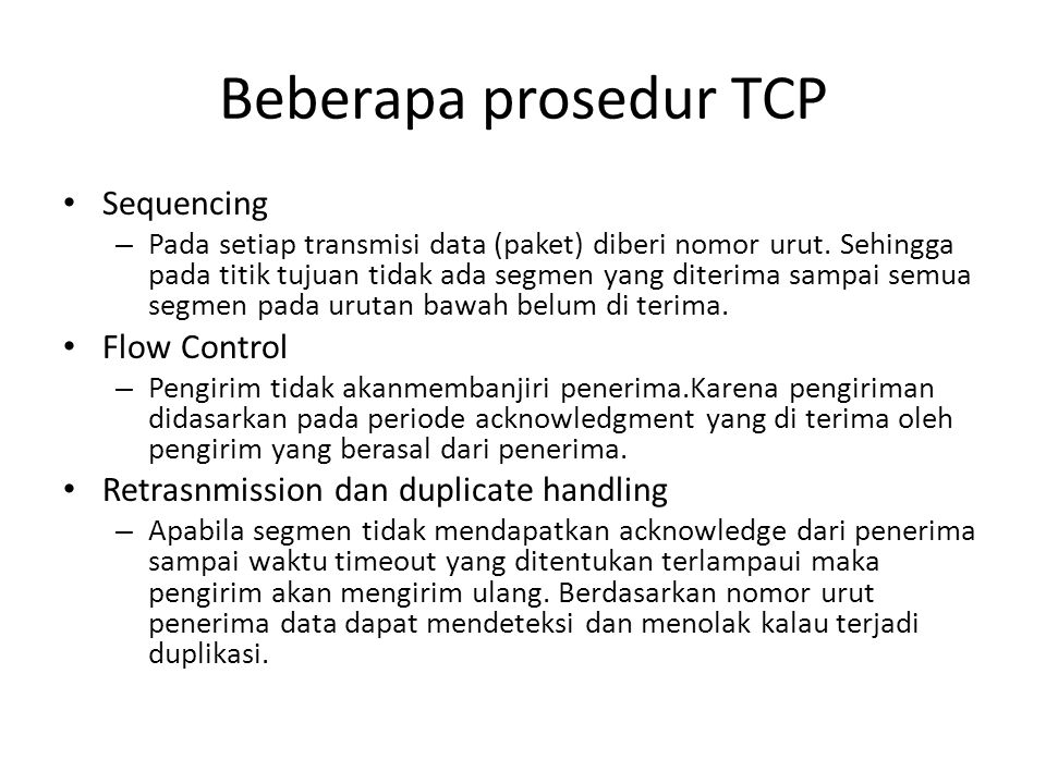 Beberapa prosedur TCP Sequencing Flow Control