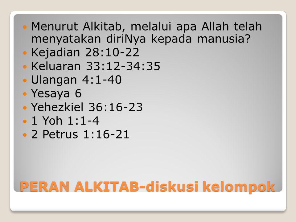 PERAN ALKITAB-diskusi kelompok