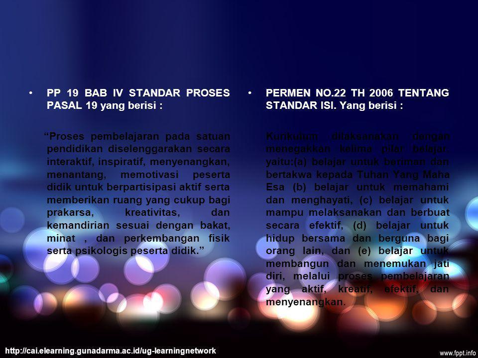 PP 19 BAB IV STANDAR PROSES PASAL 19 yang berisi :