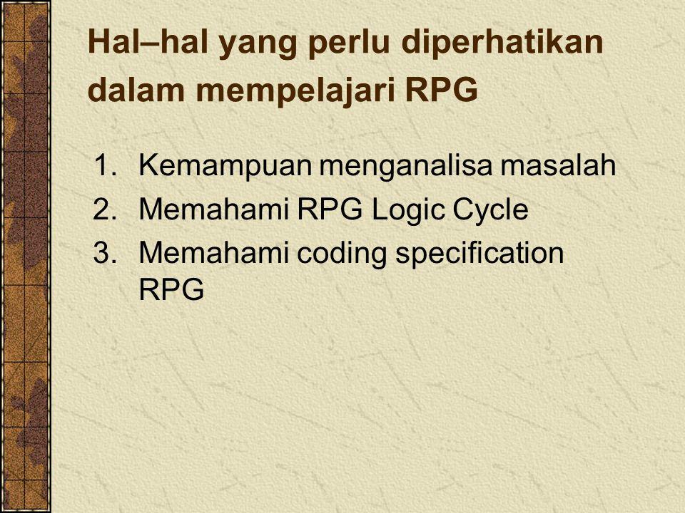 Hal–hal yang perlu diperhatikan dalam mempelajari RPG