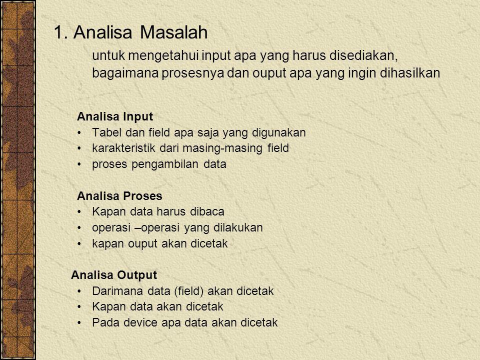 1. Analisa Masalah untuk mengetahui input apa yang harus disediakan, bagaimana prosesnya dan ouput apa yang ingin dihasilkan.