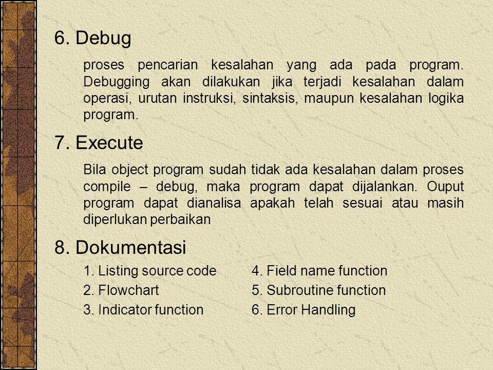 6. Debug 7. Execute 8. Dokumentasi