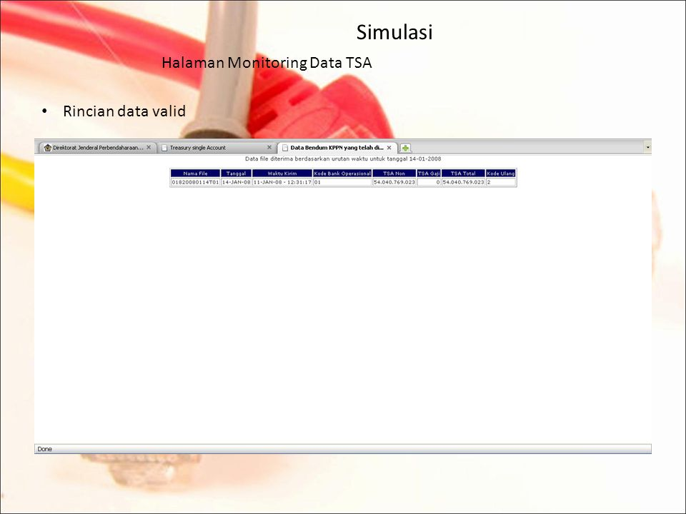 Simulasi Halaman Monitoring Data TSA Rincian data valid