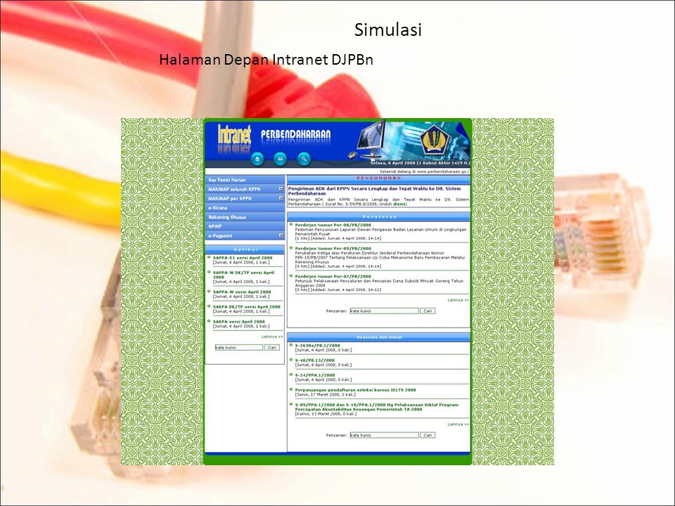 Simulasi Halaman Depan Intranet DJPBn