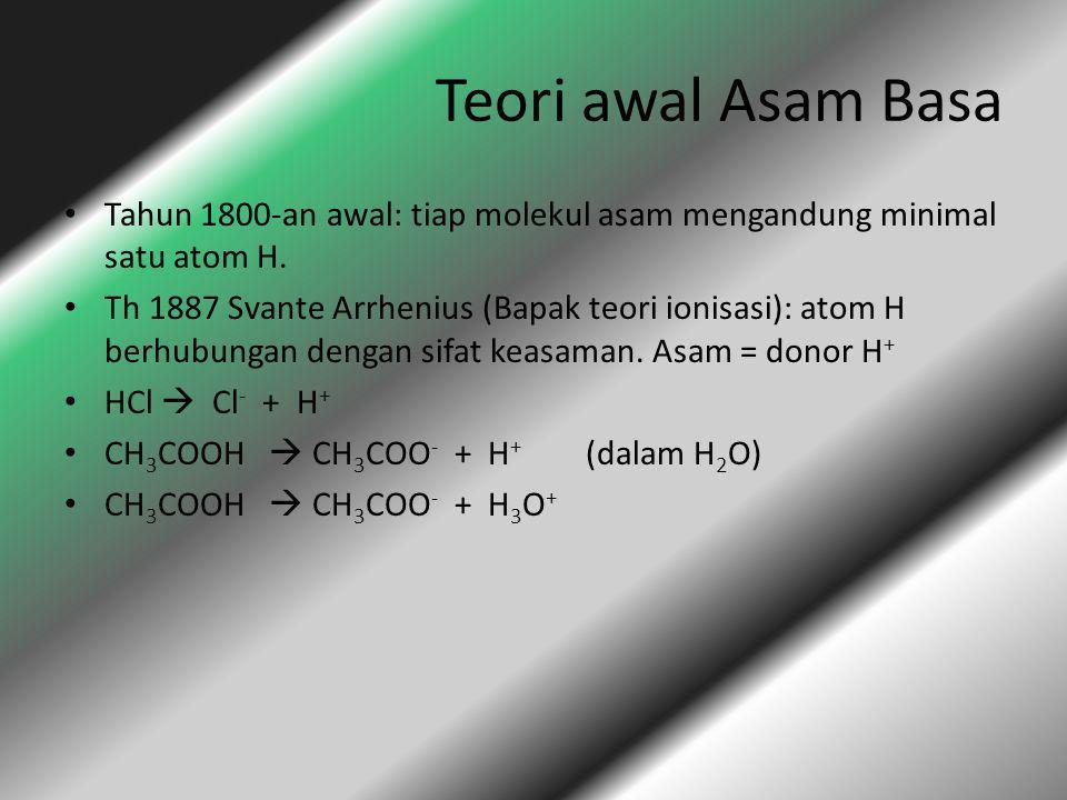 Teori awal Asam Basa Tahun 1800-an awal: tiap molekul asam mengandung minimal satu atom H.