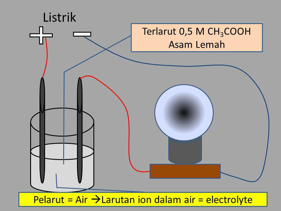 Listrik Terlarut 0,5 M CH3COOH Asam Lemah