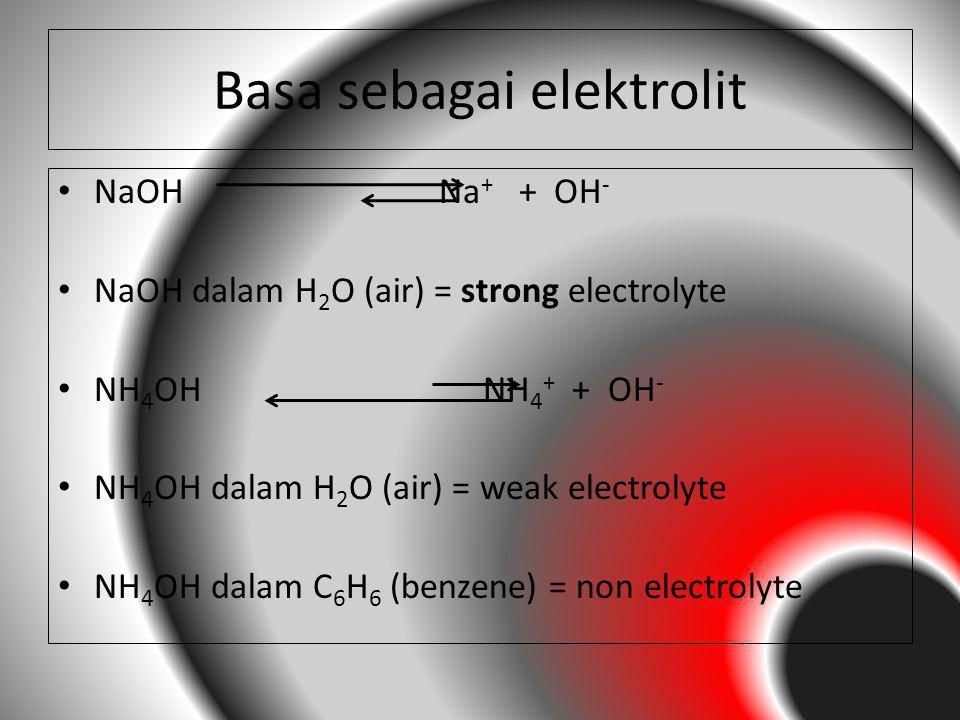 Basa sebagai elektrolit