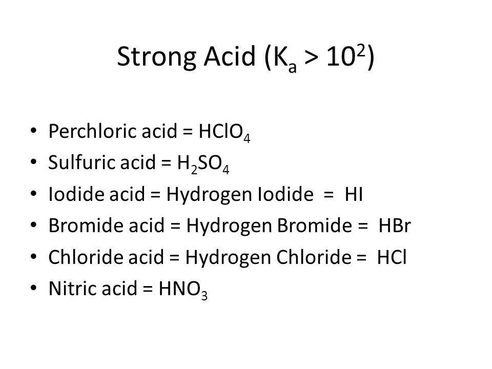 Strong Acid (Ka > 102) Perchloric acid = HClO4