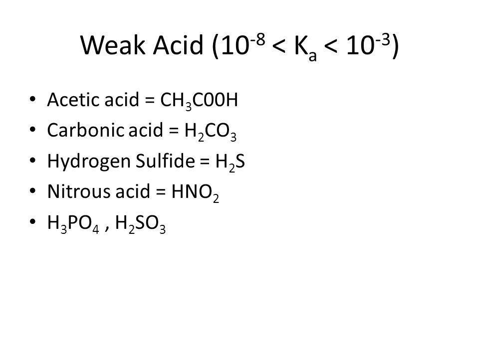 Weak Acid (10-8 < Ka < 10-3)