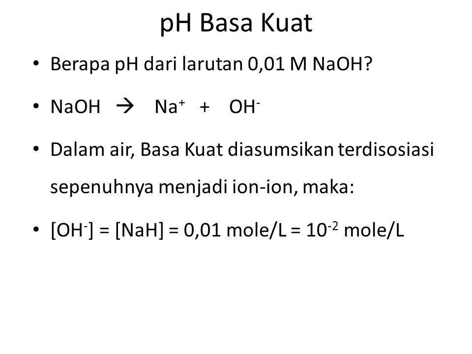 pH Basa Kuat Berapa pH dari larutan 0,01 M NaOH NaOH  Na+ + OH-
