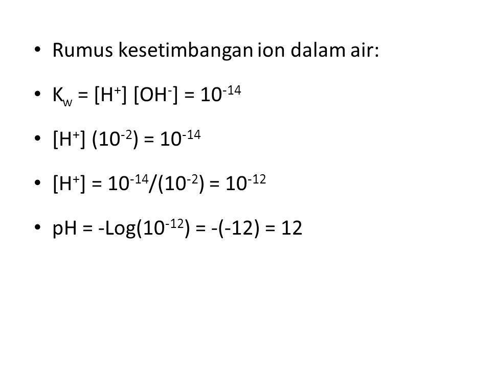 Rumus kesetimbangan ion dalam air: