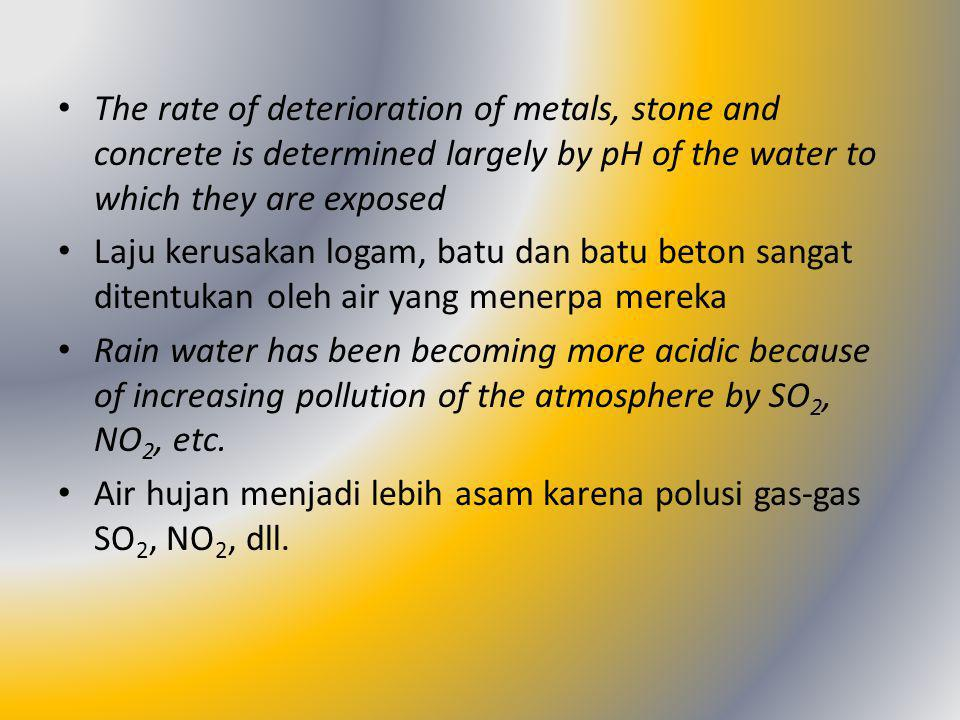 The rate of deterioration of metals, stone and concrete is determined largely by pH of the water to which they are exposed