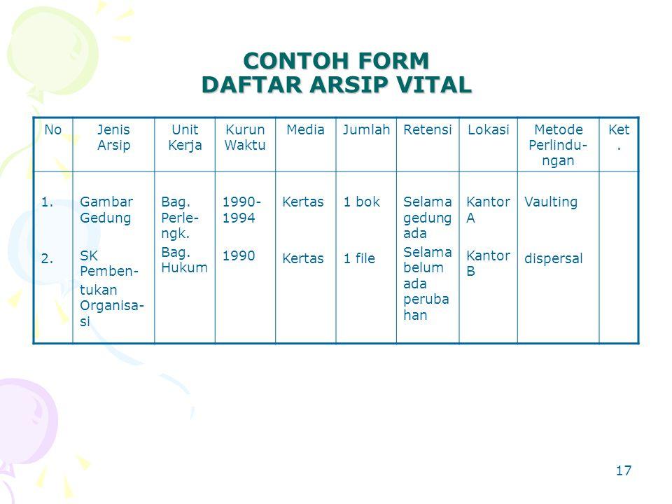 CONTOH FORM DAFTAR ARSIP VITAL