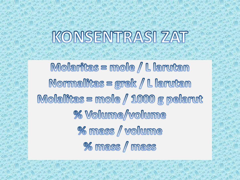 KONSENTRASI ZAT Molaritas = mole / L larutan