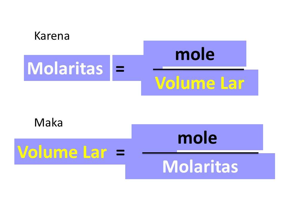 mole Volume Lar mole Molaritas