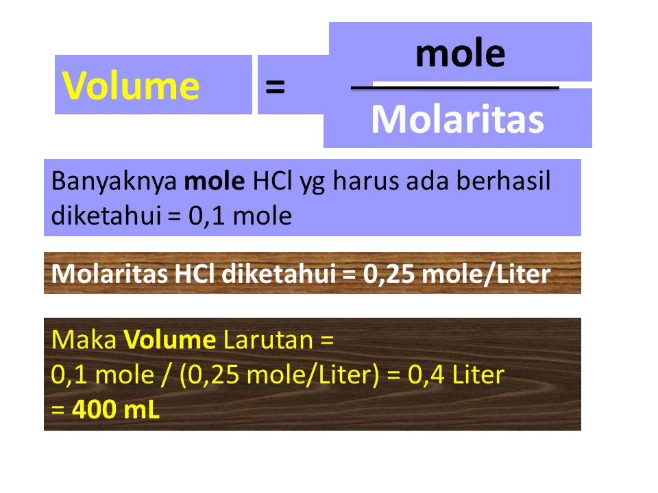 Volume = mole Molaritas