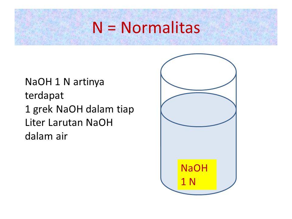 N = Normalitas NaOH 1 N artinya terdapat