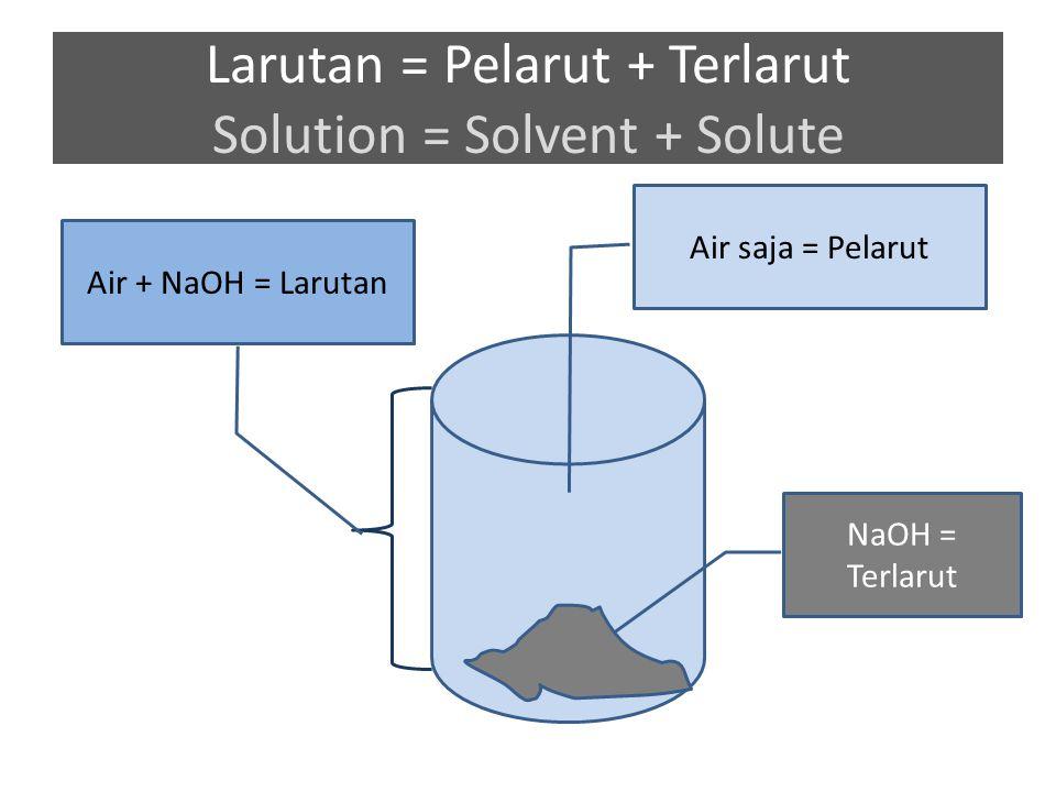 Larutan = Pelarut + Terlarut Solution = Solvent + Solute