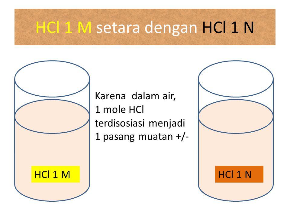 HCl 1 M setara dengan HCl 1 N
