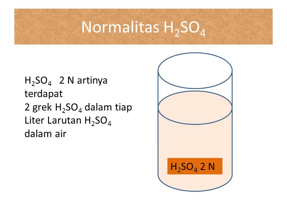 Normalitas H2SO4 H2SO4 2 N artinya terdapat