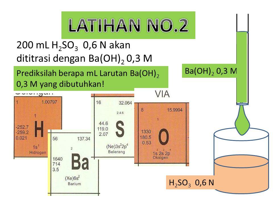 200 mL H2SO3 0,6 N akan dititrasi dengan Ba(OH)2 0,3 M