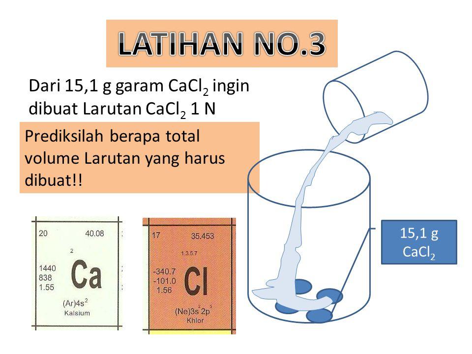 Dari 15,1 g garam CaCl2 ingin dibuat Larutan CaCl2 1 N