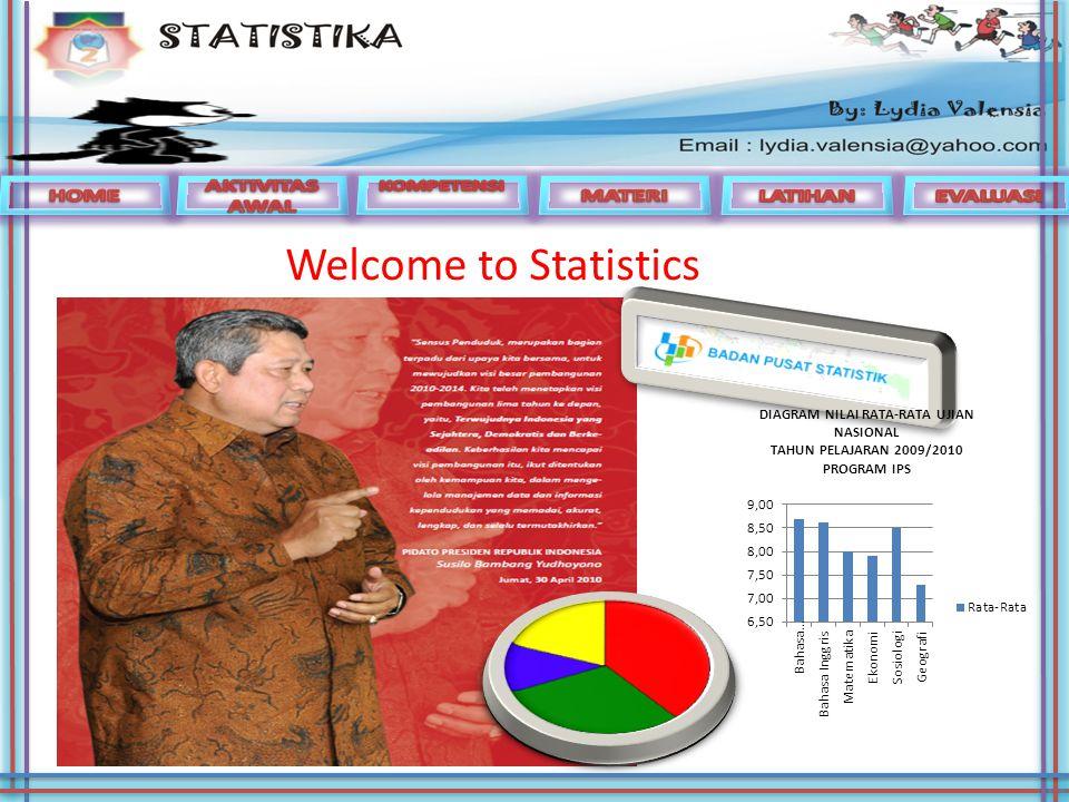 Welcome to Statistics HOME AKTIVITAS AWAL MATERI LATIHAN EVALUASI