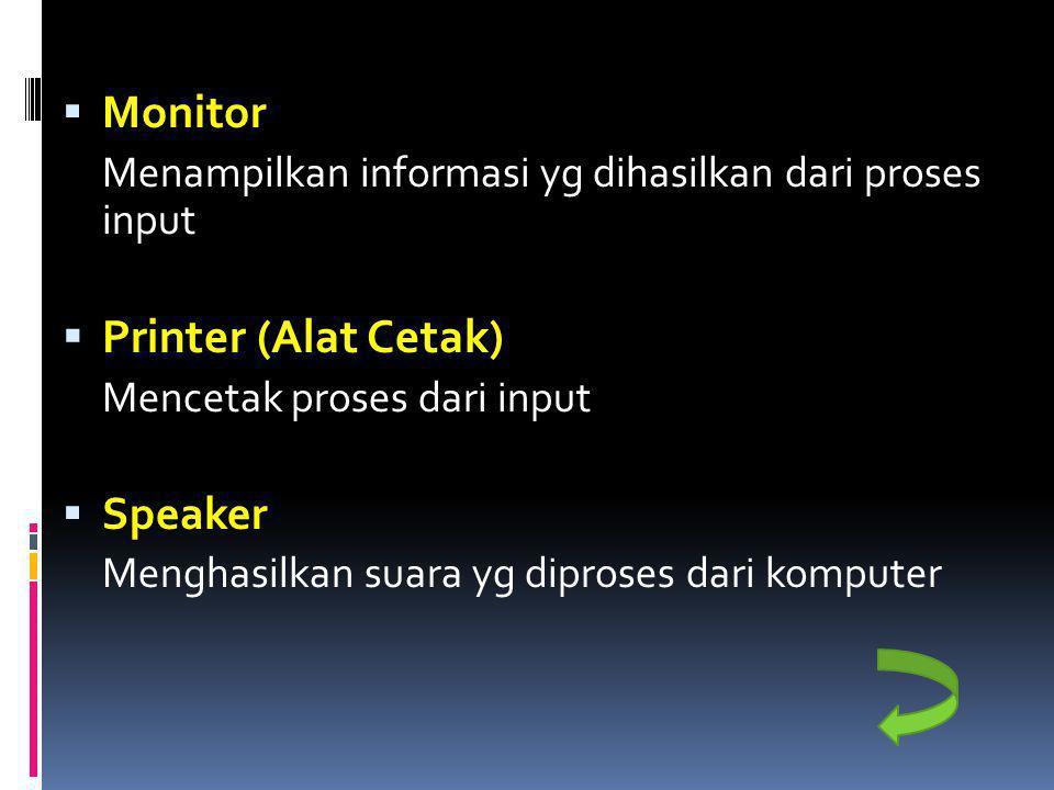 Printer (Alat Cetak) Monitor Speaker