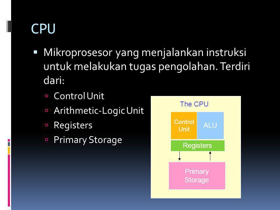 CPU Mikroprosesor yang menjalankan instruksi untuk melakukan tugas pengolahan. Terdiri dari: Control Unit.