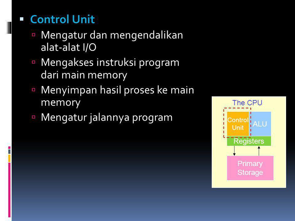 Control Unit Mengatur dan mengendalikan alat-alat I/O
