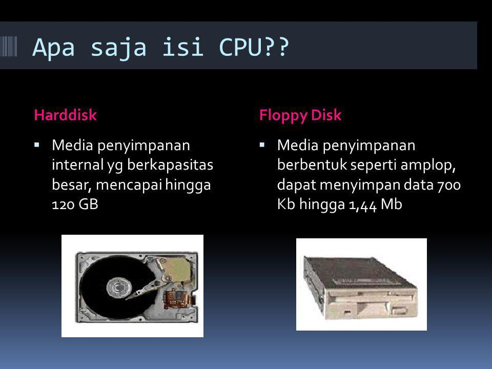 Apa saja isi CPU Harddisk Floppy Disk